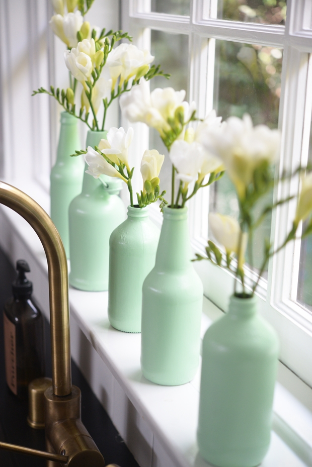 diy des vases vert mint leo le pirate. Black Bedroom Furniture Sets. Home Design Ideas